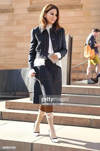 Vogue Australia stylist Christine Centenera attends at MercedesBenz Fashion Week Australia 2015 at the Art Gallery of NSW on April 16 2015 in Sydney...
