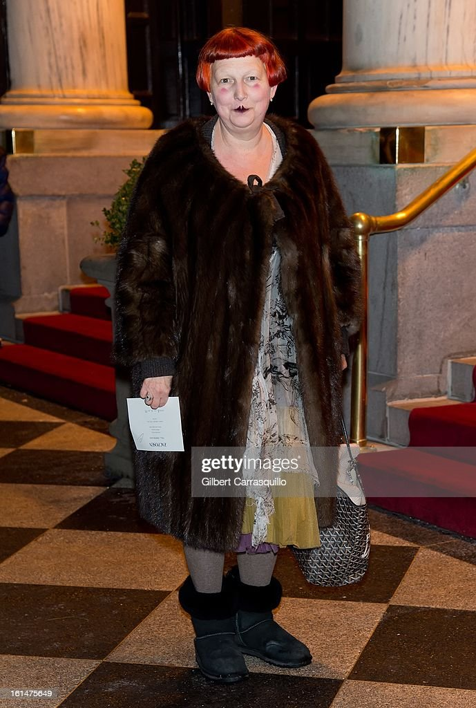 Vogue contributing fashion editor, Lynn Yaeger arrives at the Zac Posen Fall 2013 Mercedes-Benz Fashion Show at The Plaza Hotel on February 10, 2013 in New York City.