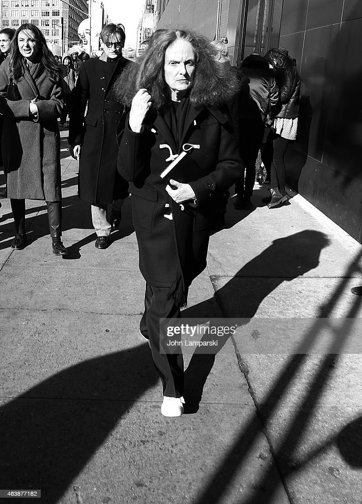 USA Vogue creative director Grace Coddington is seen outside the Calvin Klein Collection during Mercedes-Benz Fashion Week Fall 2015 at Spring Studios on February 19, 2015 in New York City.
