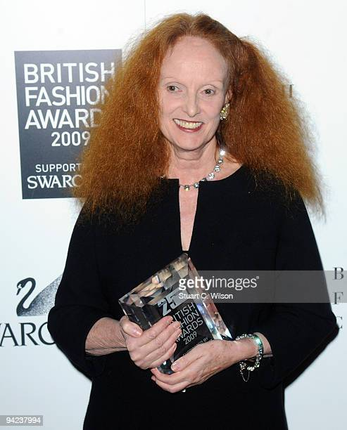 Vogue creative director Grace Coddington receives the Issabella Blow award for fashion creator during the British Fashion Awards at Royal Courts of...