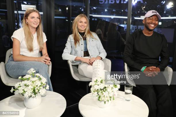Vogue digital editor Zoe Rosielle Model Romee Strijd and Designer Rushemy Botter attends the BB Box Panel talk during the Bread Butter by Zalando at...