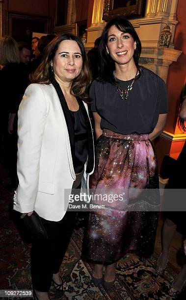 Vogue editor Alexandra Shulman and Samantha Cameron attend a drinks reception launching London Fashion Week Autumn/Winter 2011 hosted by Samantha...