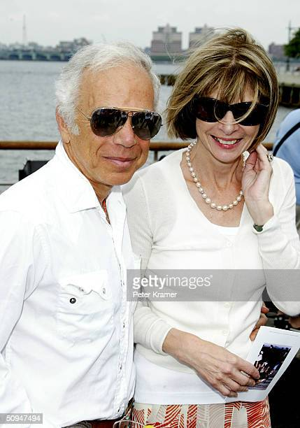 "Vogue Editor Anna Wintour and Designer Ralph Lauren attend the unveiling of Stephan Weiss's ""The Apple"" at the Hudson River Park dedicated to the..."