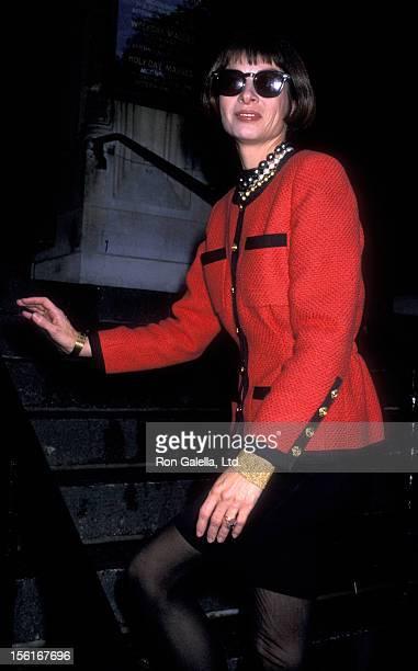 Vogue Editor Anna Wintour attends Ana Luisa HerreraLuis Felipe ParoudCarpena Wedding Ceremony on October 13 1989 at St Vincent Church in New York City