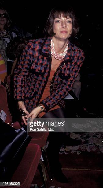 Vogue Editor Anna Wintour attends Oscar de la Renta Spring Fashion Show on November 30 1990 at the Plaza Hotel in New York City