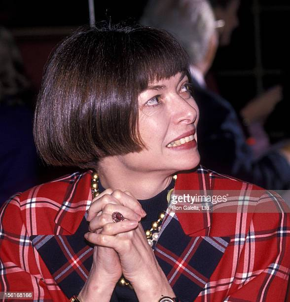 Vogue Editor Anna Wintour attends the book party for Nancy Holmes 'Nobody's Fault' on February 7 1990 at Doubles in New York City