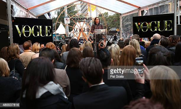 Vogue Editor Edwina McCann during Vogue Fashion's Night Out on August 28 2015 in Melbourne Australia