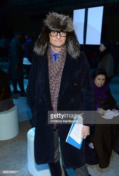 Vogue Editor Hamish Bowles attends the Marc Jacobs fashion show during MercedesBenz Fashion Week Fall 2014 at Lexington Avenue Armory on February 13...
