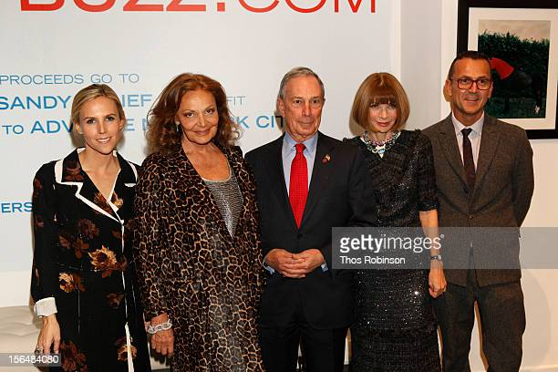 Vogue editor in chief Anna Wintour designer Tory Burch New York City mayor Michael Bloomberg designer Diane Von Furstenberg and Steven Kolb CEO of...