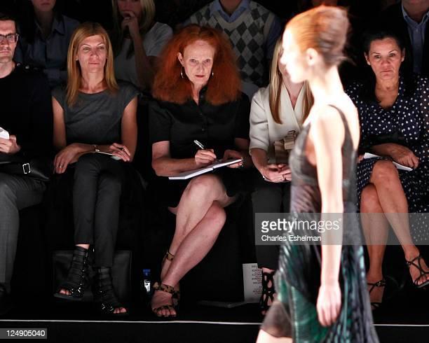 Vogue Editor Viginia Smith and Vogue Creative Director Grace Coddington attend the Narciso Rodriguez Spring 2012 fashion show during MercedesBenz...