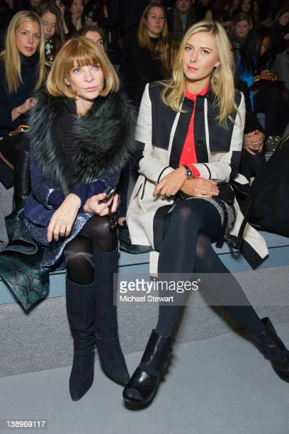 Vogue EditorinCheif Anna Wintour and Professional tennis player Maria Sharapova attend the Vera Wang Fall 2012 fashion show during MercedesBenz...