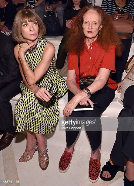 Vogue editorinchief and Conde Nast artistic director Anna Wintour and Vogue creative director Grace Coddington attend Ralph Lauren Spring 2016 during...