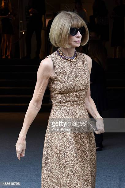 Vogue editorinchief and Conde Nast artistic director Anna Wintour is seen leaving the JCrew presentation during New York Fashion Week The Shows at...