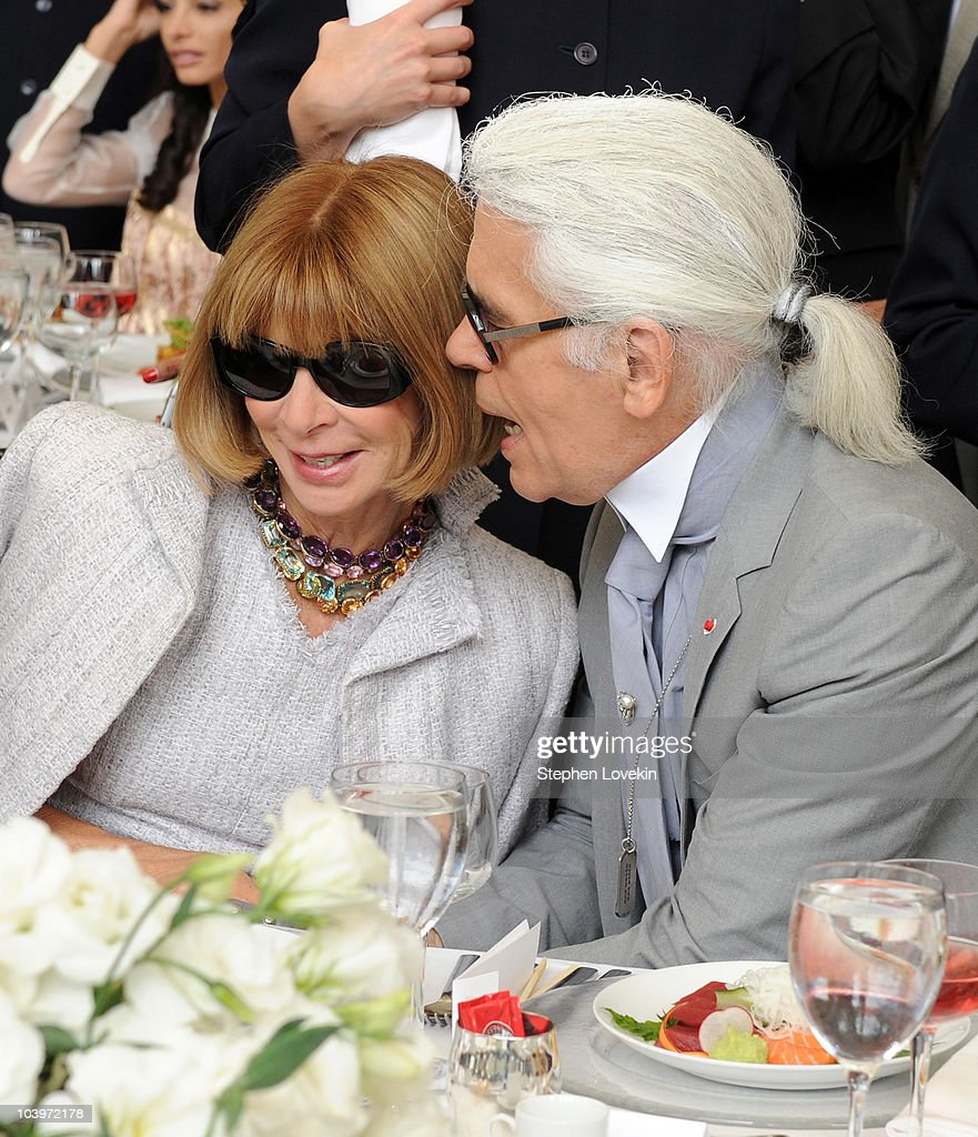 Vogue editor-in-chief Anna Wintour and designer Karl Lagerfeld attend the FIT Couture Council's Annual Luncheon at Avery Fisher Hall at Lincoln Center for the Performing Arts on September 10, 2010 in New York City.