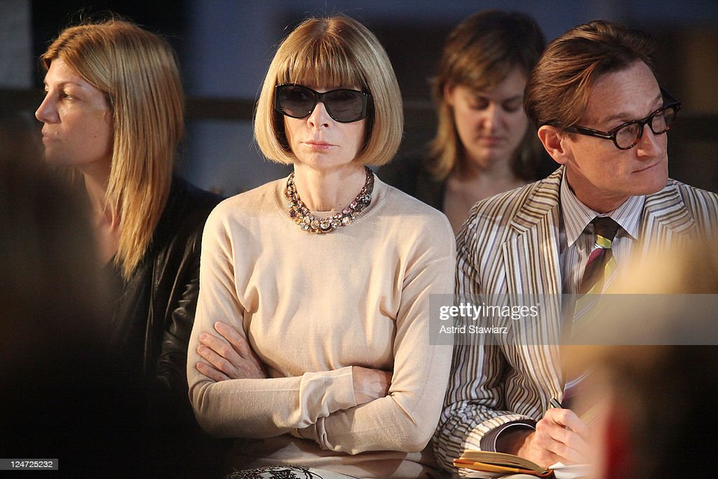 Vogue Editor-in-Chief Anna Wintour and Vogue European Editor-at-Large Hamish Bowles attend the Zac Posen Spring 2012 fashion show during Mercedes-Benz Fashion Week at Avery Fisher Hall, Lincoln Center on September 11, 2011 in New York City.