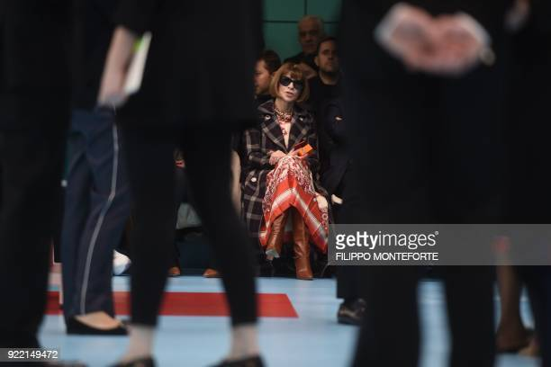 US Vogue editorinchief Anna Wintour attends the women's Fall/Winter 2018/2019 collection fashion show by Gucci in Milan on February 21 2018 / AFP...