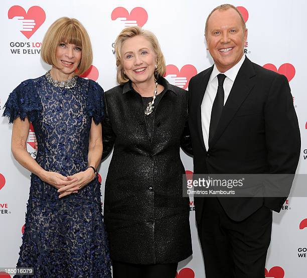 Vogue editorinchief Anna Wintour Hillary Rodham Clinton recipient of the Michael Kors Award for Outstanding Community Service and Designer Michael...