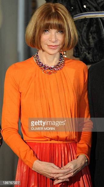 US Vogue editorinchief Anna Wintour poses during a press conference announcing the 'Schiaparelli and Prada Impossible Conversations' exhibition on...