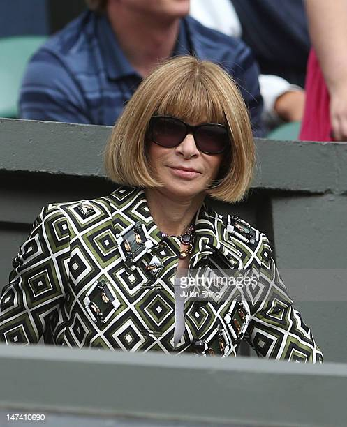 Vogue Editorinchief Anna Wintour watches from the crowd on Centre Court on day five of the Wimbledon Lawn Tennis Championships at the All England...