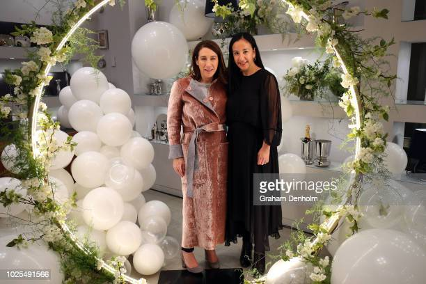 Vogue editorinchief Edwina McCann poses at Georg Jensen during Vogue American Express Fashion's Night Out on August 31 2018 in Melbourne Australia