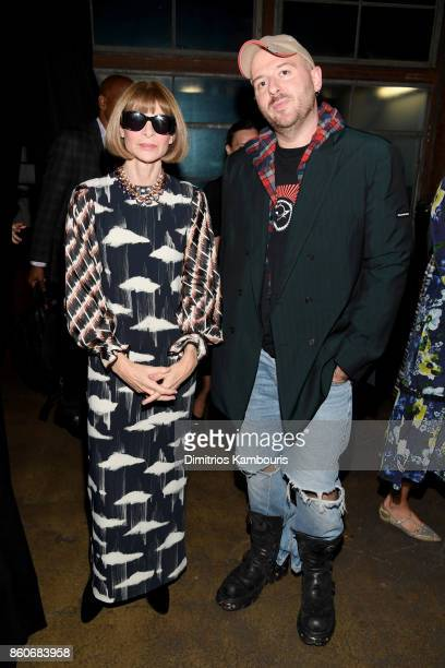 Vogue EIC Anna Wintour and Balenciaga Creative Director Demna Gvasalia attend Vogue's Forces of Fashion Conference at Milk Studios on October 12 2017...