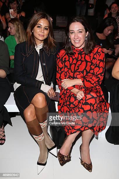 Vogue fashion editor Christine Centenera and Vogue Australia editor Edwina McCann arrives at the Johanna Johnson Presented By Capitol Grand show at...