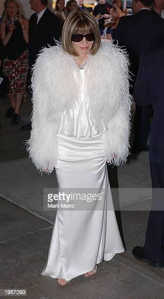 Vogue Magazine editor Anna Wintour arrives for 'Goddess Costume Institute Benefit Gala' at the Metropolitan Museum of Art Costume April 28 2003 in...