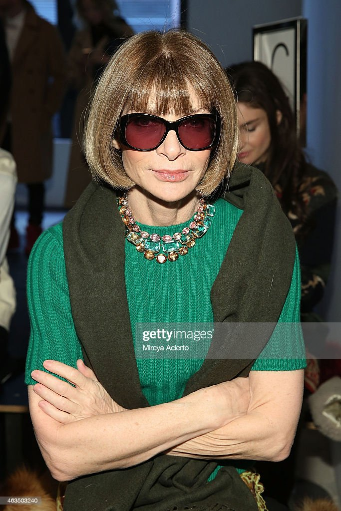 Vogue magazine editor, Anna Wintour attends Public School runway show during MADE Fashion Week Fall 2015 at Studio 330 on February 15, 2015 in New York City.