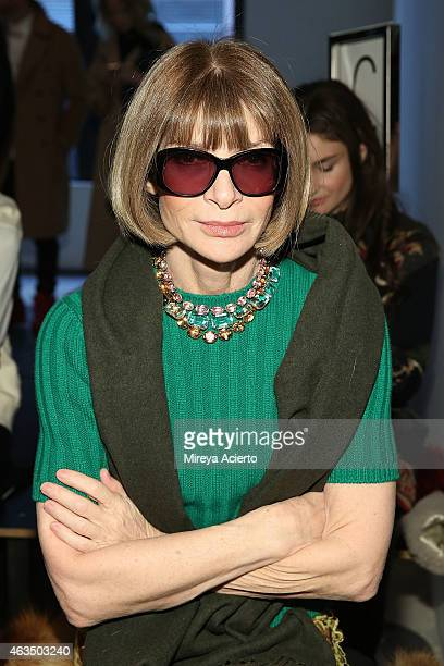 Vogue magazine editor Anna Wintour attends Public School runway show during MADE Fashion Week Fall 2015 at Studio 330 on February 15 2015 in New York...