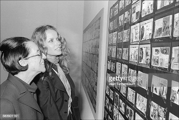 Vogue magazine editor Diana Vreeland and supermodel Veruschka attend the opening of Peter Beard's exhibition of photographs from Africa New York New...