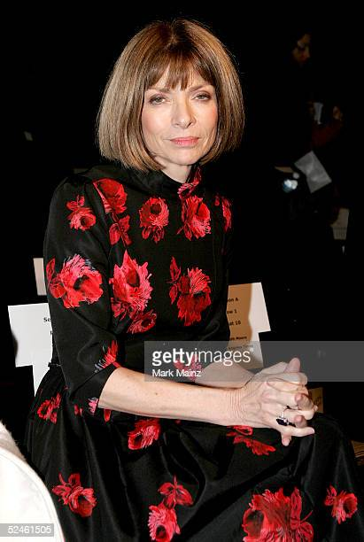 Vogue magazine EditorinChief Anna Wintour is seen in the front row at the Louis Verdad Fall 2005 show during MercedesBenz Fashion Week at Smashbox...