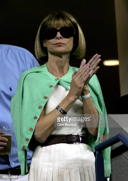 Vogue magazine editor-in-chief Anna Wintour watches the quartefinal matches on Day 10 of the US Open at the USTA National Tennis Center in Flushing...