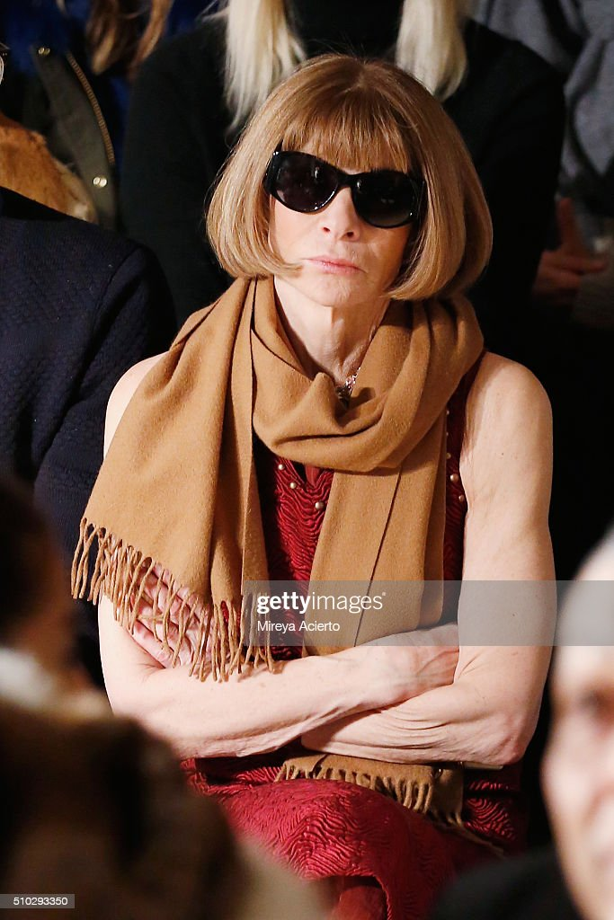 Vogue Magazine fashion editor, Anna Wintour attends the Jonathan Simkhai fashion show during Fall 2016 MADE Fashion Week at Milk Studios on February 14, 2016 in New York City.