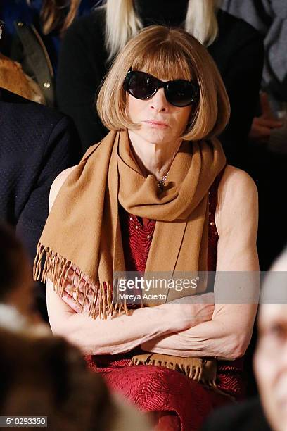 Vogue Magazine fashion editor Anna Wintour attends the Jonathan Simkhai fashion show during Fall 2016 MADE Fashion Week at Milk Studios on February...