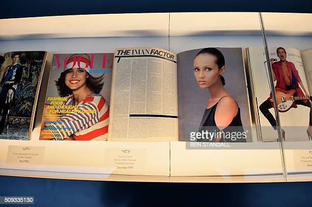 A Vogue magazine showing an image of Somali fashion model Iman taken by Snowden in 1979 is seen as part of the 'Vogue 100 a Century of Style'...