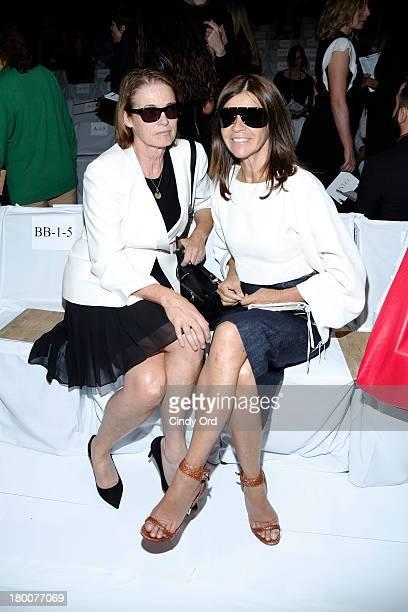 Vogue Senior Editor Lisa Love and EditorinChief of CR Fashion Book Carine Roitfeld attend the Diane Von Furstenberg fashion show during MercedesBenz...