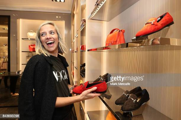 Vogue Senior Fashion Editor Kate Darvill visits Tods boutique during Vogue American Express Fashion's Night Out 2017 on September 7 2017 in Sydney...