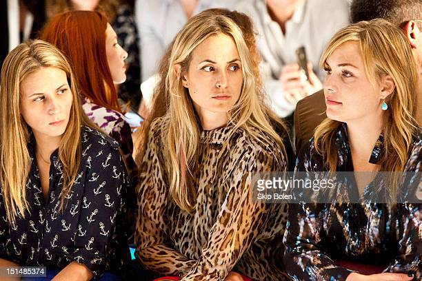 Vogue Style Editor at Large Elisabeth von Thurn und Taxis watches a model on the runway at the Suno spring 2013 fashion show during MercedesBenz...