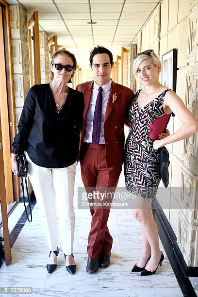 Vogue Teen Vogue editor Lisa Love fashion designer Zac Posen and painter Rosson Crow attend the MAC Cosmetics Zac Posen luncheon at the Ennis House...