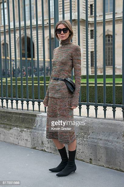 Vogue Ukaine editorinchief Masha Tsukanova wears Balenciaga and Celine sunglasses on day 4 during Paris Fashion Week Autumn/Winter 2016/17 on March 4...