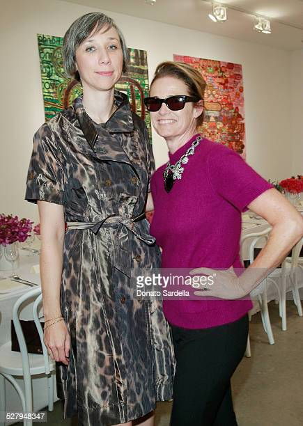 Vogue west coast editor Lisa Love poses with artist Alexandra Grant at a dinner hosted by Vogue and Mulberry celebrating the work of Alexandra Grant...