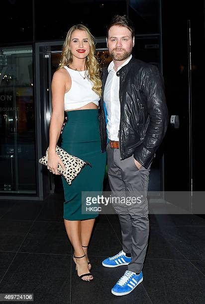 Vogue Williams and Brian McFadden arrive at The MM Store in London on April 14 2015 in London England