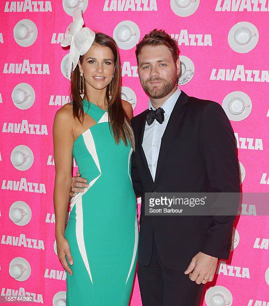 Vogue Williams and Brian McFadden attend the Lavazza marquee on Crown Oaks Day at Flemington Racecourse on November 8 2012 in Melbourne Australia