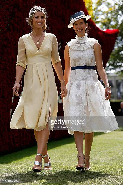 Vogue Williams and Lisa Tan attend day four of the Qatar Goodwood Festival at Goodwood Racecourse on July 31 2015 in Chichester England