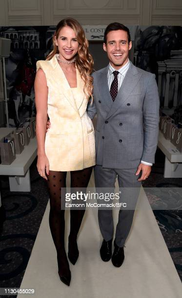 Vogue Williams and Spencer Matthews attend the Paul Costelloe presentation during London Fashion Week February 2019 at the Simpsons in the Strand on...