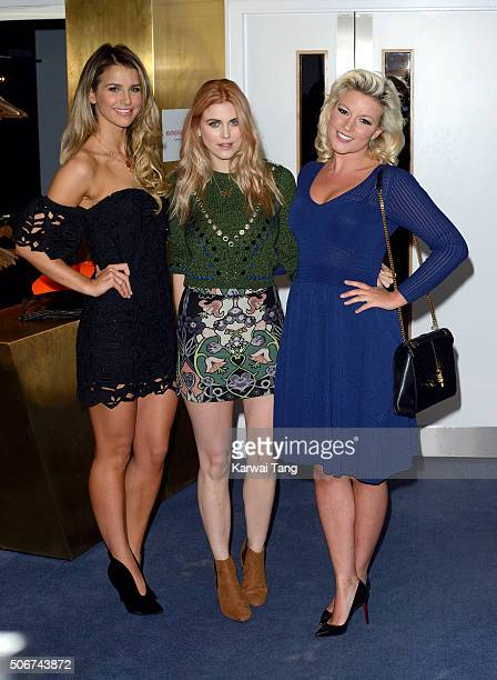 Vogue Williams Ashley James and Natalie Coyle attend the 'Eating Happiness' VIP screening at the Mondrian Hotel on January 25 2016 in London England