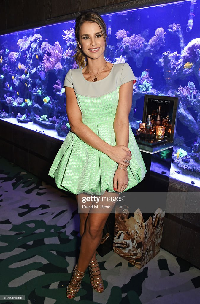Vogue Williams attends a private dinner hosted by Creme de la Mer to celebrate the launch of Genaissance de la Mer the Serum Essence, available exclusively at Harrods, at Sexy Fish on January 21, 2016 in London, England.