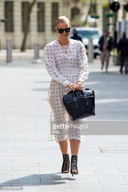 Vogue Williams seen arriving at the Global Radio Studios on May 04, 2021 in London, England.