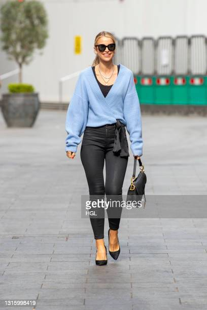 Vogue Williams seen leaving the Global Studios after her Heart Radio show on May 03, 2021 in London, England.