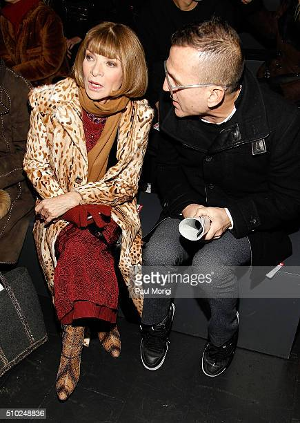Vogue's Anna Wintour and CFDA CEO Steven Kolb attend the Hood By Air 2016 fashion show on February 14 2016 in New York City